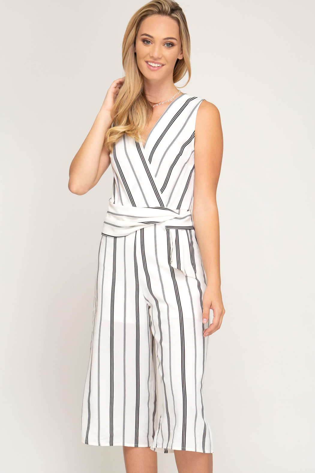 She and Sky SLVLSS STRIPED CULOTTE JUMPSUIT - Main Image
