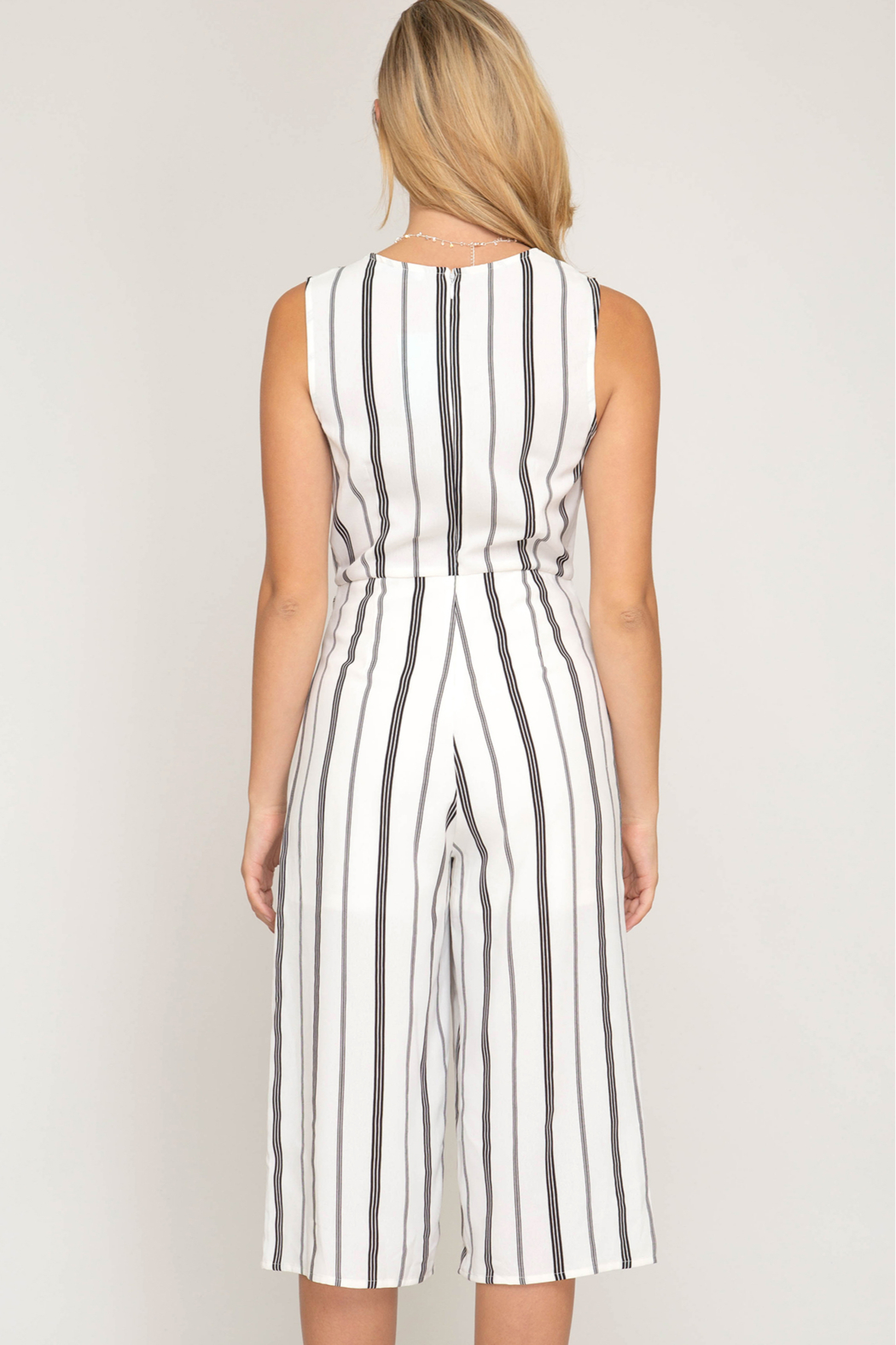 She and Sky SLVLSS STRIPED CULOTTE JUMPSUIT - Front Full Image