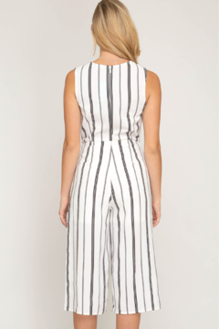 She and Sky SLVLSS STRIPED CULOTTE JUMPSUIT - Alternate List Image