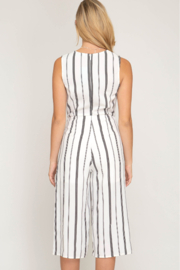 She and Sky SLVLSS STRIPED CULOTTE JUMPSUIT - Front full body