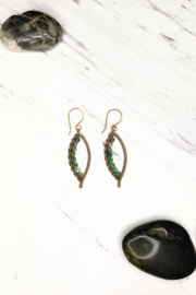 Viki Jewelry Sm Bronze Bay Leaf Wrapped Earring w/ Pervian Opal - Product Mini Image