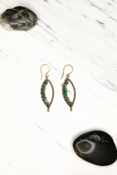 Shoptiques Product: Sm Bronze Bay Leaf Wrapped Earring w/ Pervian Opal