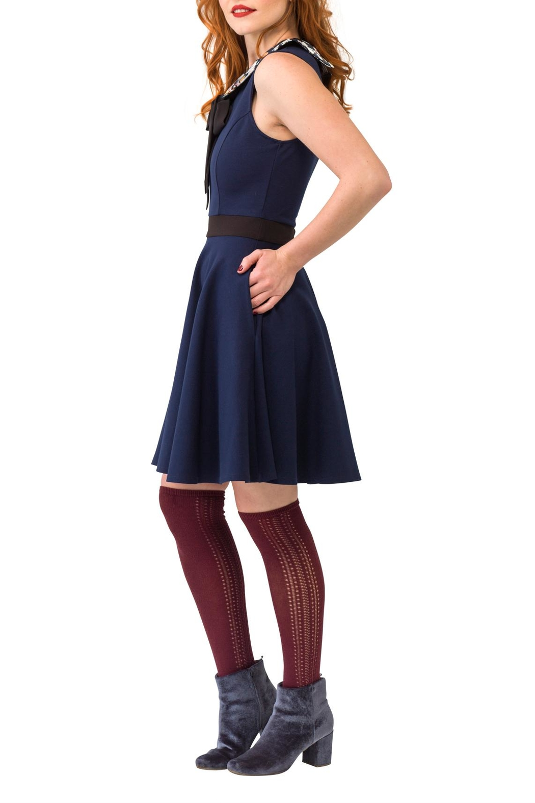 Smak Parlour Cat Collared Dress - Front Full Image