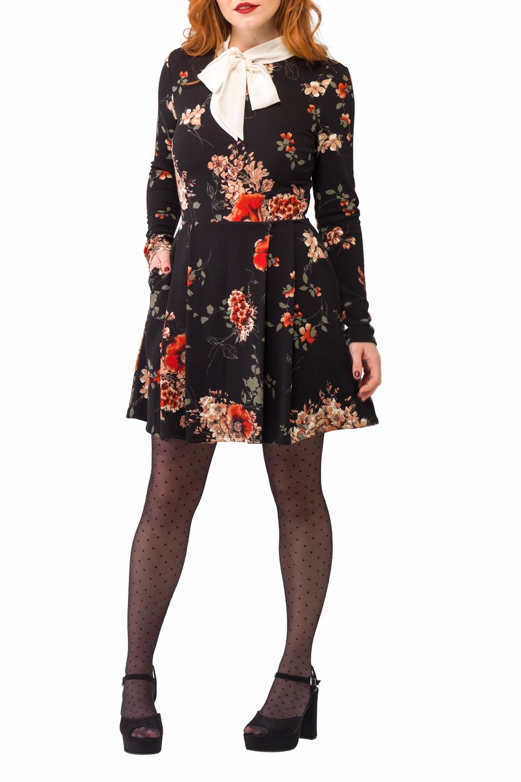 Smak Parlour Long-Sleeve Floral Dress - Front Cropped Image