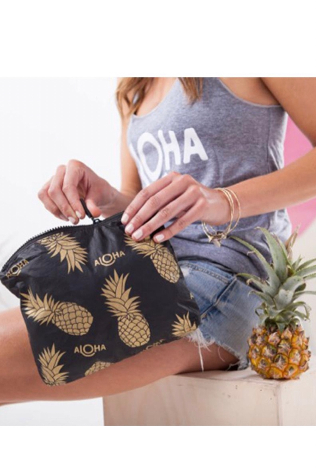Aloha Collection Small Black Pineapple Fields Pouch - Front Full Image