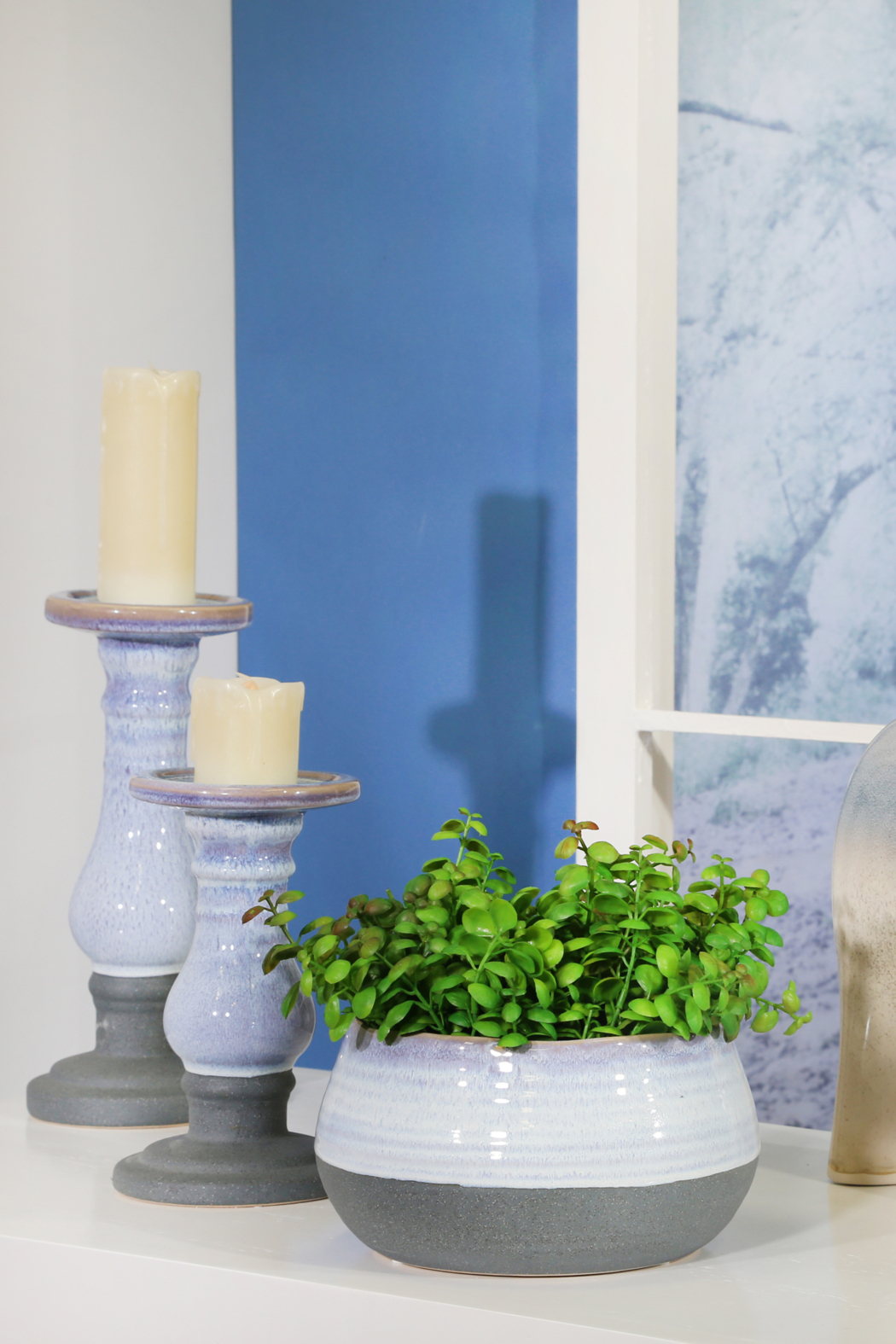 Sagebrook Home SMALL CERAMIC CANDLE HOLDER - Front Cropped Image