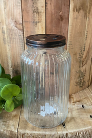 MudPie Small Copper & Glass Stem Jar - Front cropped