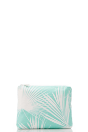 Aloha Collection Small Day Palms Pouch in Pool - Front cropped