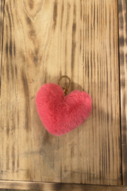 Kindred Mercantile  Small Fuzzy heart keychain - Front cropped