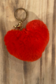 Kindred Mercantile  Small Fuzzy heart keychain - Product Mini Image