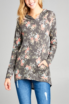 E Luna Small Print Floral Hoodie - Product List Image