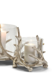 Two's Company SMALL SILVER ANTLER CANDLEHOLDER & GLASS VOTIVE - Product Mini Image