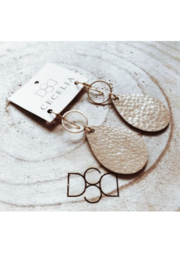 Cecelia Designs Jewelry Small Teardrop Leather Earring - Gold Shimmer - Product Mini Image