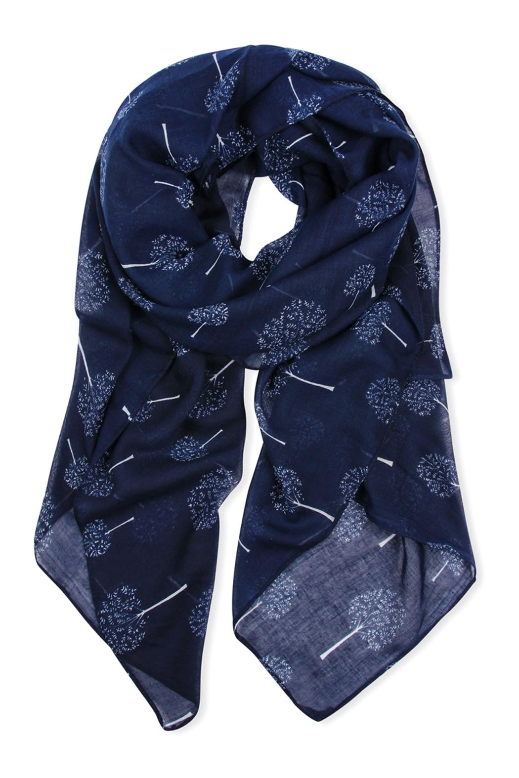 Riah Fashion Small-Trees Printed Scarf - Front Cropped Image