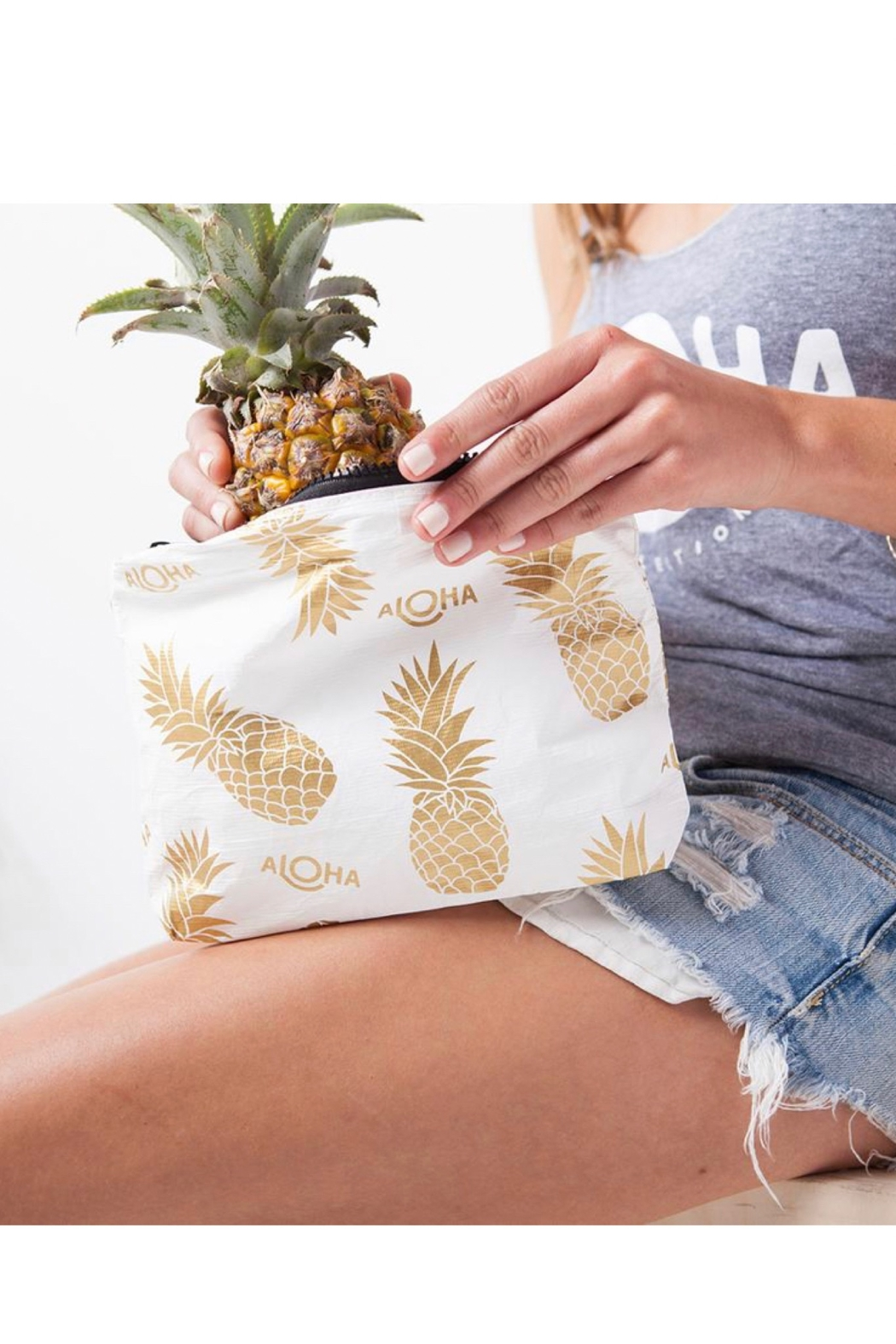 Aloha Collection Small White Pineapple Fields Pouch - Front Full Image