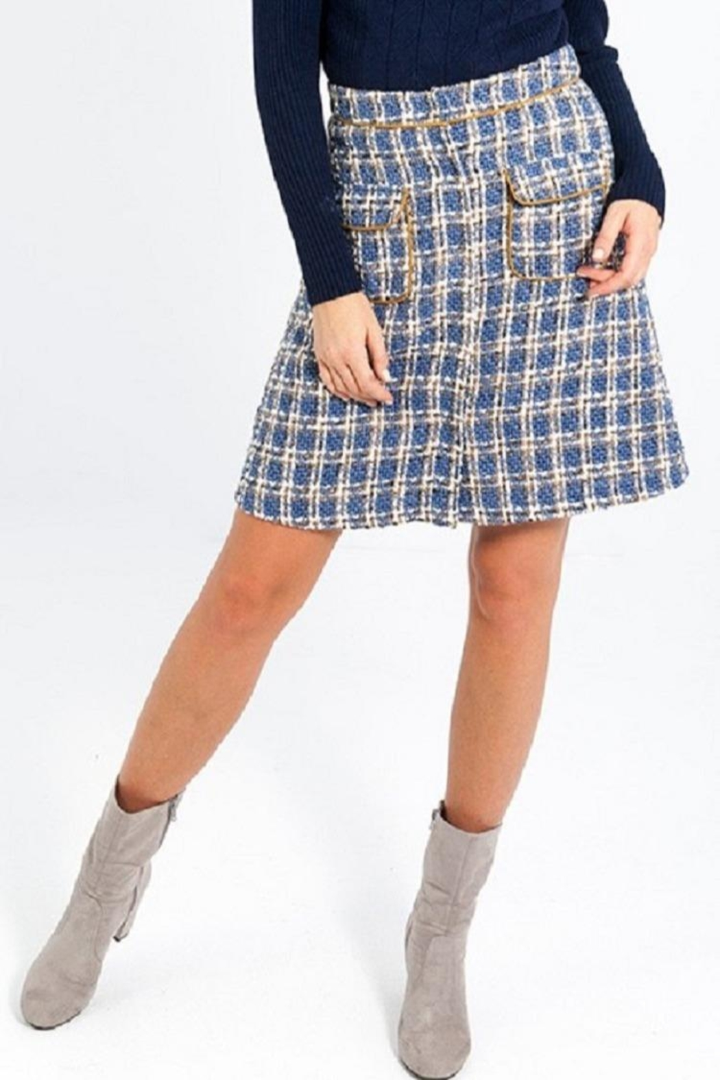 Smash  Plaid A-Line Skirt - Front Cropped Image