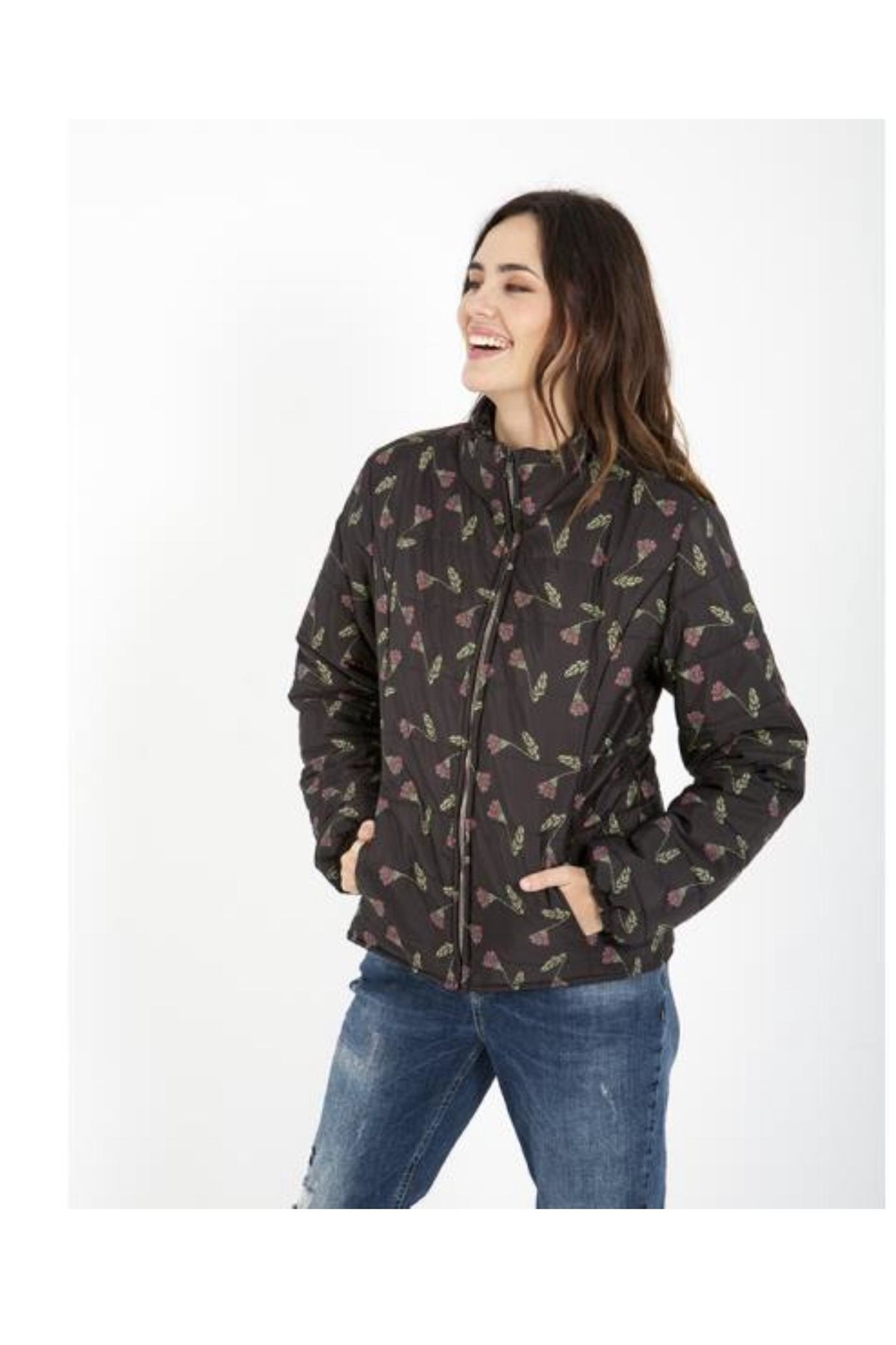Smash  Puffy-Coat With Floral-Design - Main Image