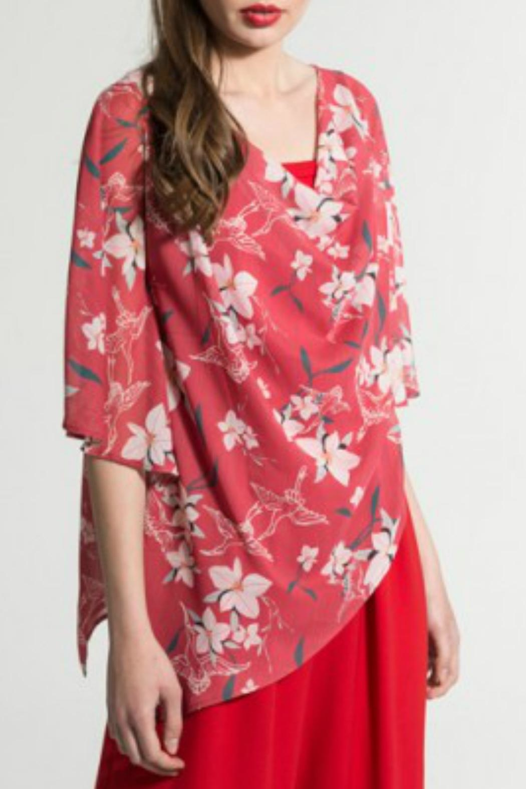 Smash  Red Floral Cape - Front Full Image