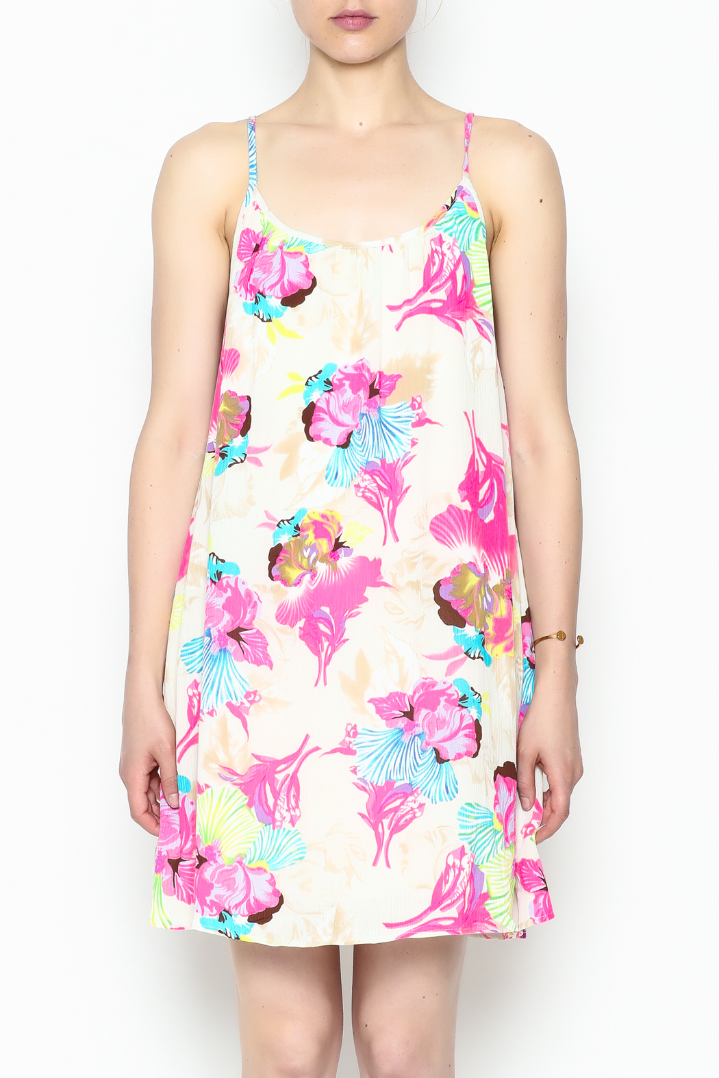 Smell the Roses Tropical Macy Dress - Front Cropped Image