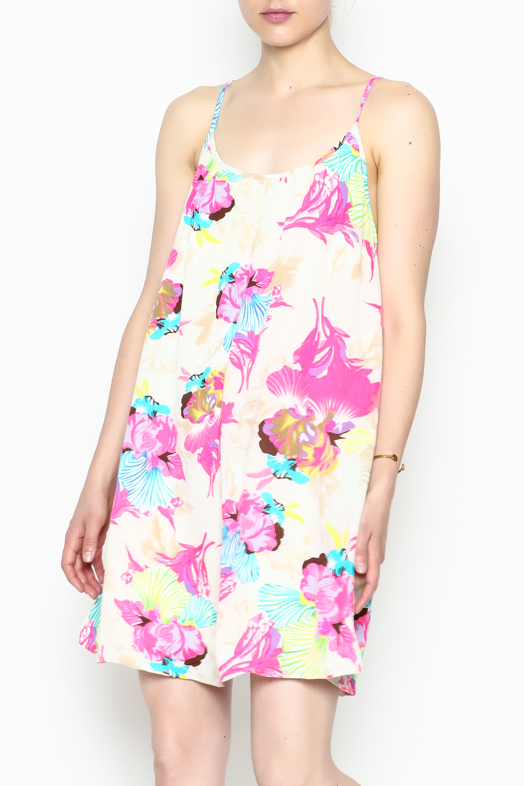 Smell the Roses Tropical Macy Dress - Side Cropped Image