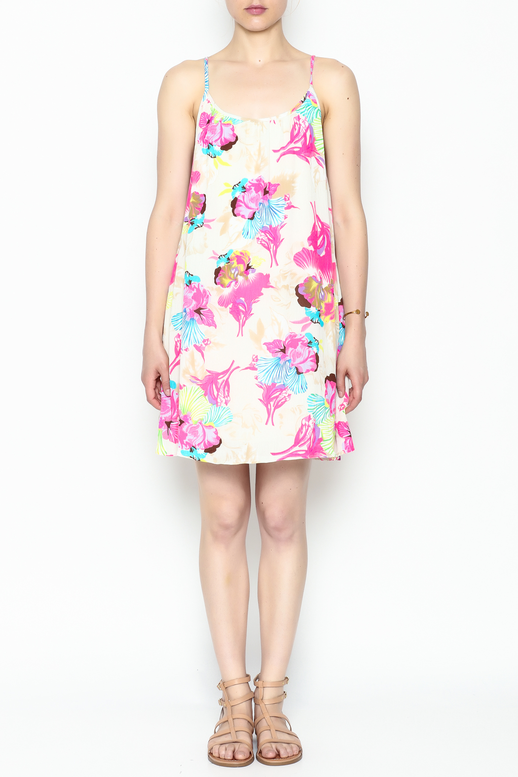 Smell the Roses Tropical Macy Dress - Front Full Image