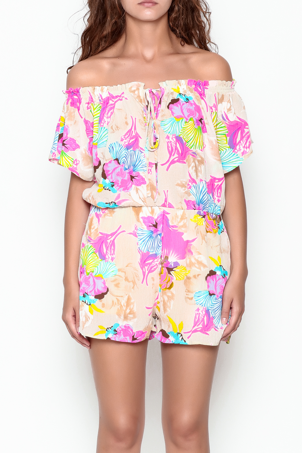 Smell the Roses Tropical Natalie Romper - Front Cropped Image