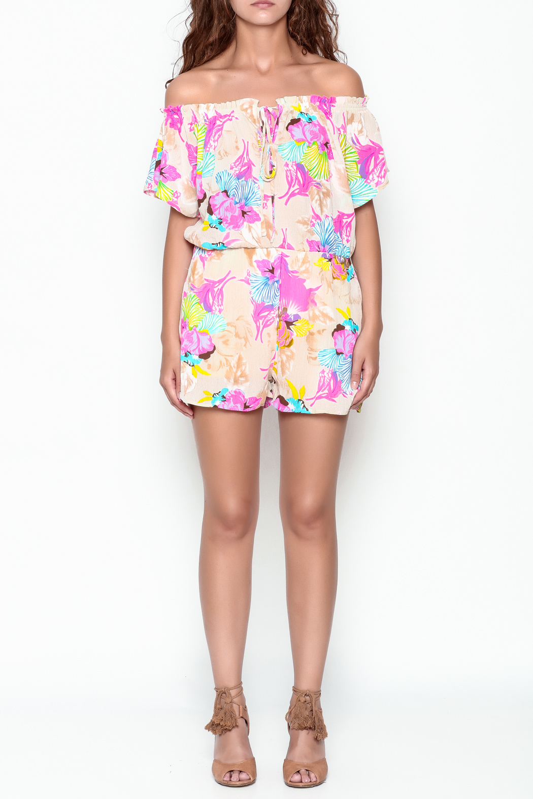 Smell the Roses Tropical Natalie Romper - Front Full Image