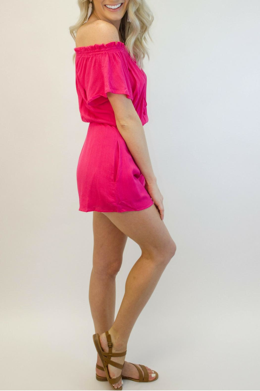 Smell the Roses Hot Pink Romper - Front Full Image