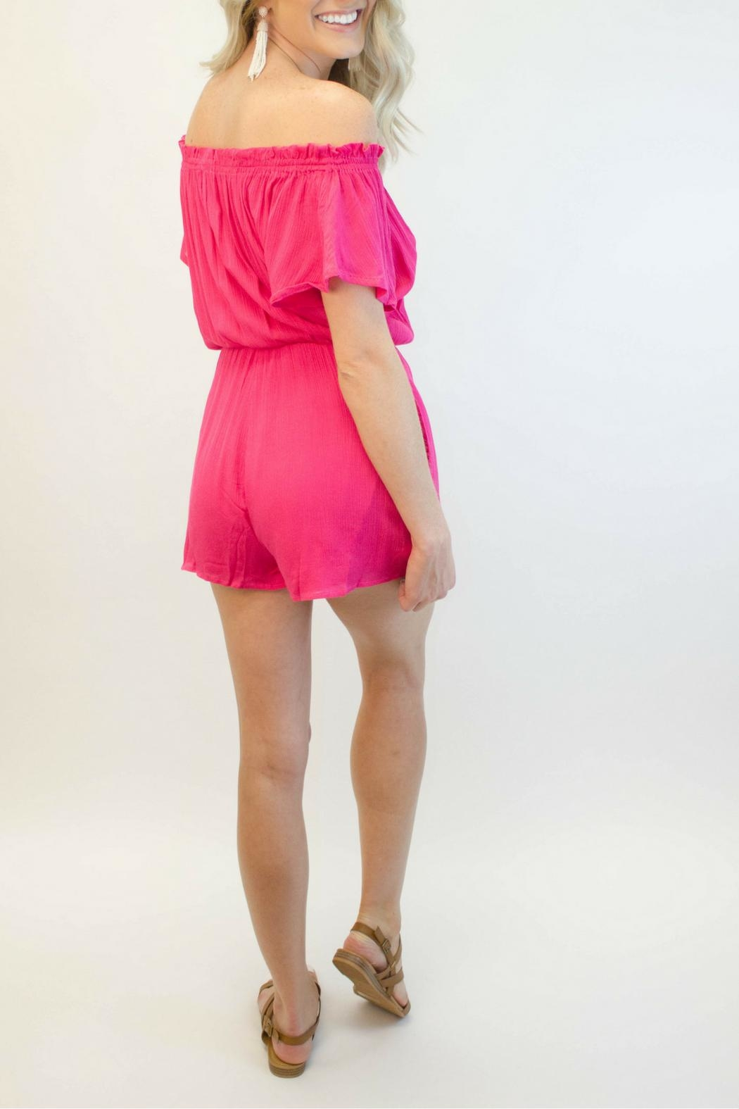 Smell the Roses Hot Pink Romper - Side Cropped Image