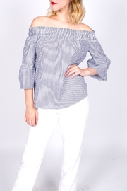 Smell the Roses Striped Off Shoulder Top - Front cropped