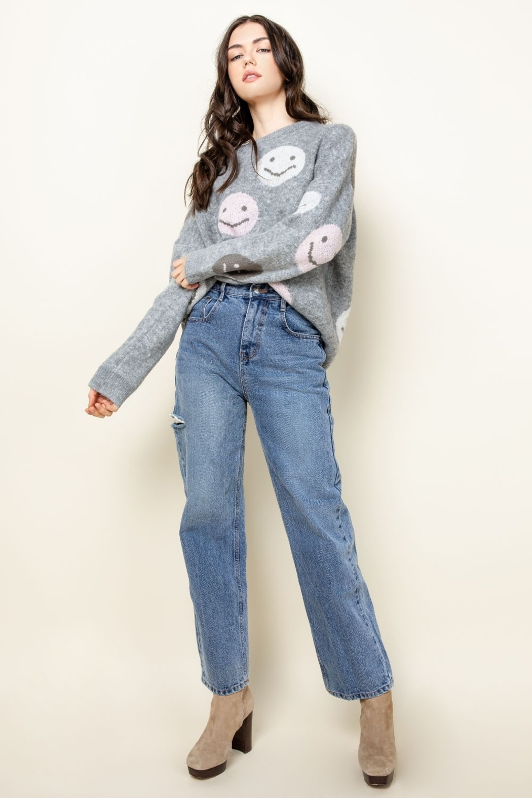 Thml Smiley Face Sweater - Side Cropped Image