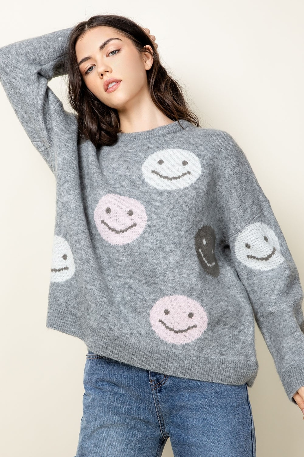 Thml Smiley Face Sweater - Back Cropped Image