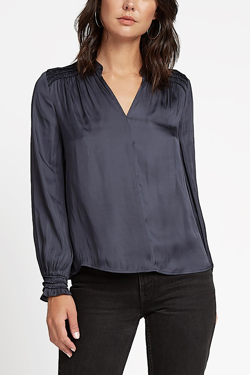 Current Air Smock Shoulder & Cuff  V Neck Blouse - Main Image