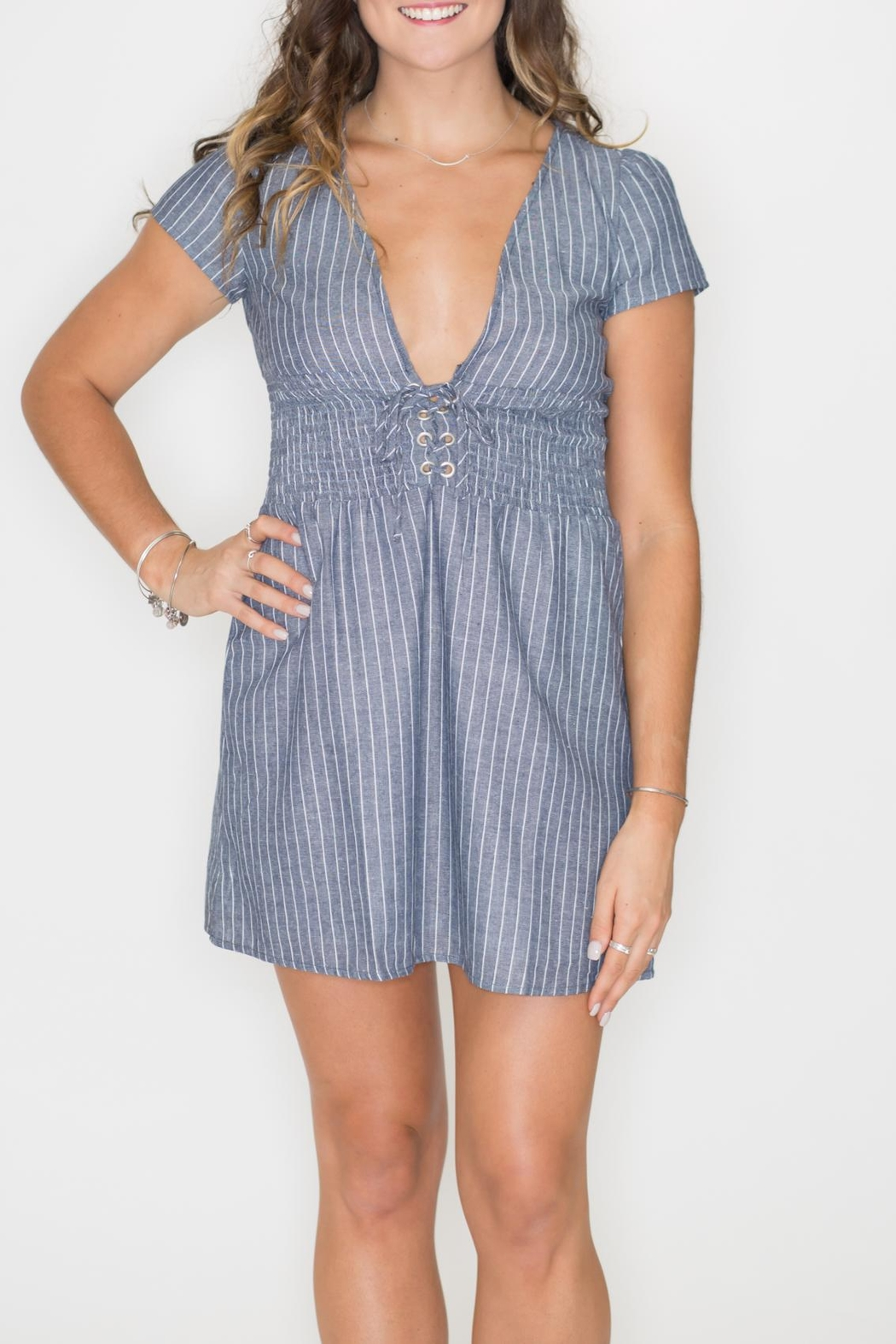 Listicle Smock Waist Dress - Front Full Image
