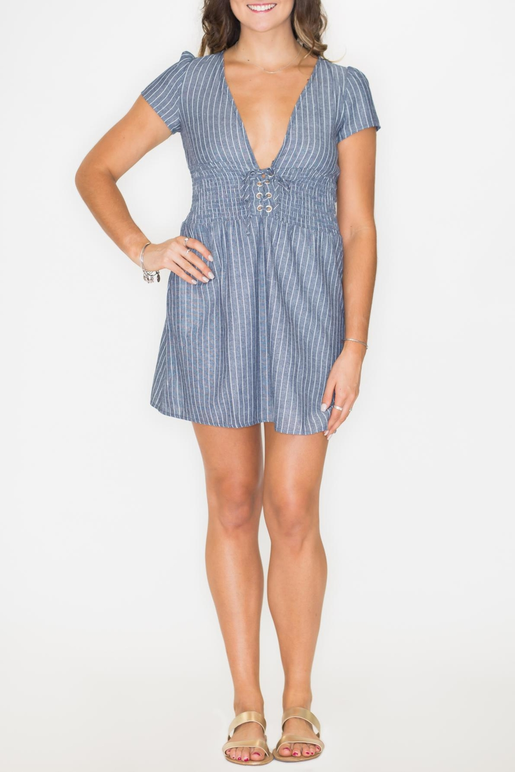Listicle Smock Waist Dress - Front Cropped Image