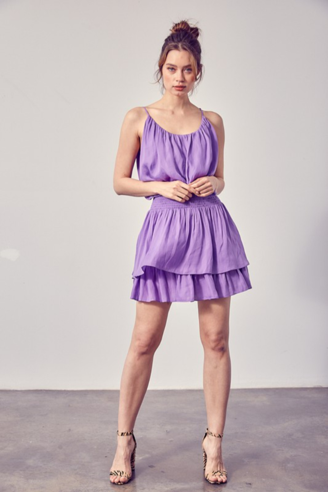 Do + Be  Smock Waist Strappy Dress - Front Full Image