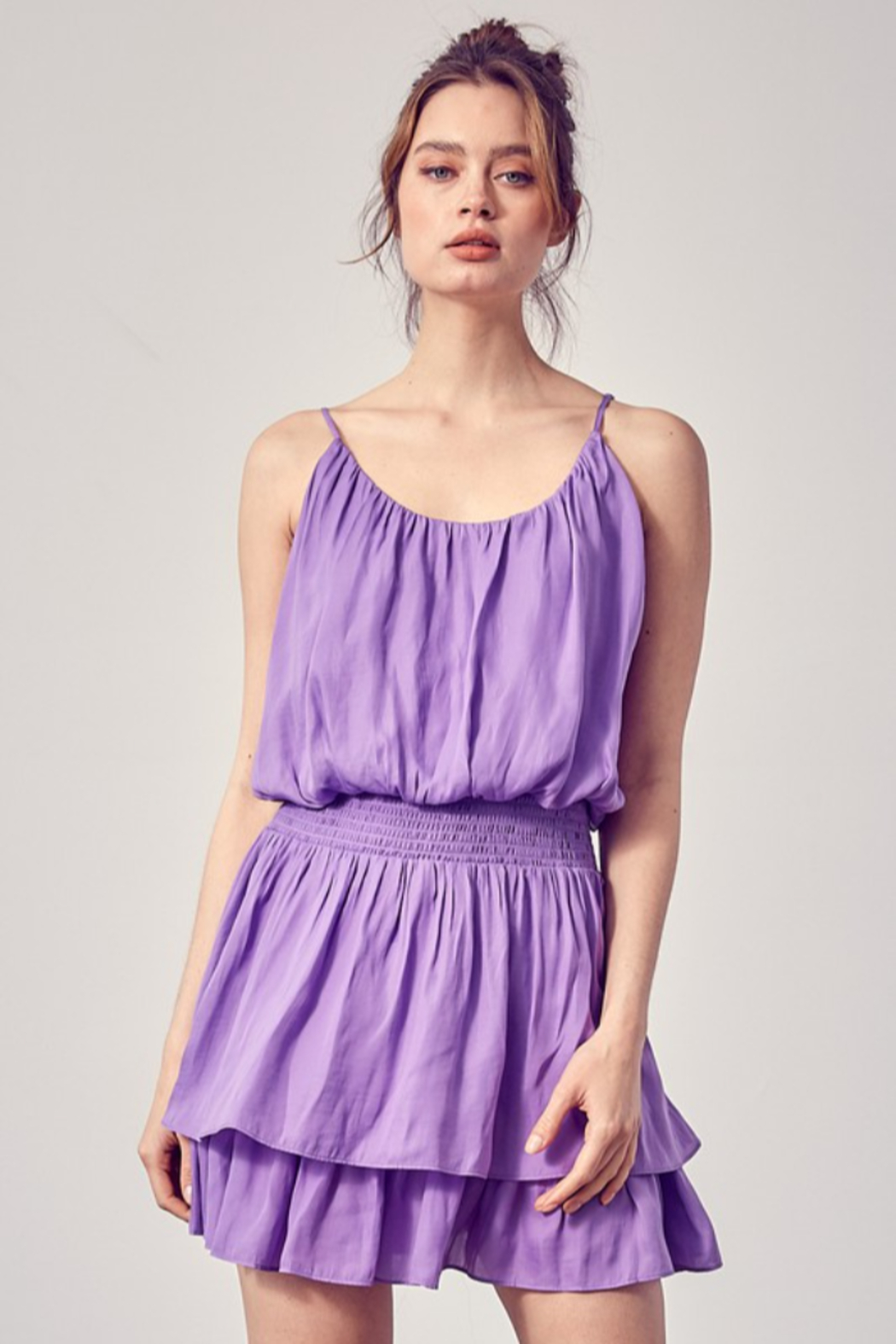 Do + Be  Smock Waist Strappy Dress - Front Cropped Image