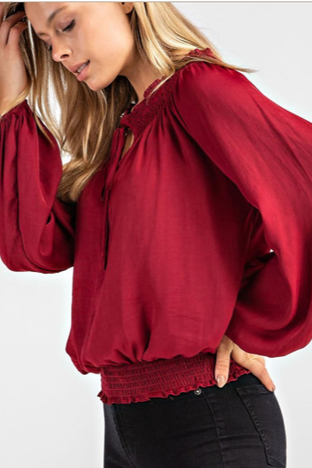 Glam Smock Waist Top - Front Full Image
