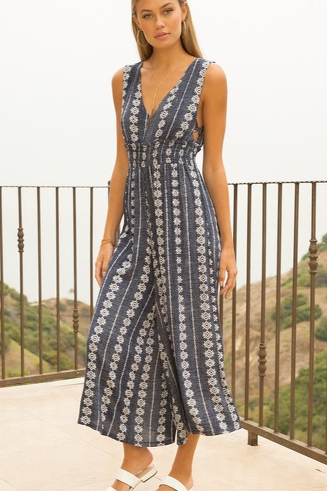 Hem and Thread Smock Waist V-Neck Printed Jumpsuit - Side Cropped Image