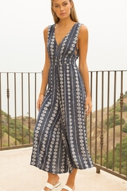 Hem and Thread Smock Waist V-Neck Printed Jumpsuit - Side cropped