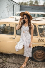 Hem & Thread Smocked Back Cut Out Stripe Jumpsuit - Front full body