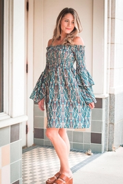 Molly Bracken Smocked Bell Sleeve Short Dress - Product Mini Image
