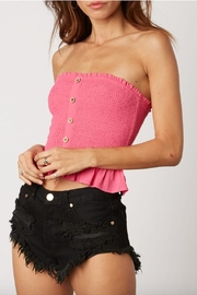 Cotton Candy LA Smocked Button-Up Crop-Top - Front cropped
