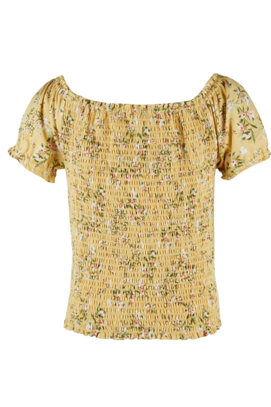 Beautees Smocked Crop Top - Front Full Image