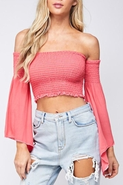 blue blush Smocked Crop Top - Product Mini Image