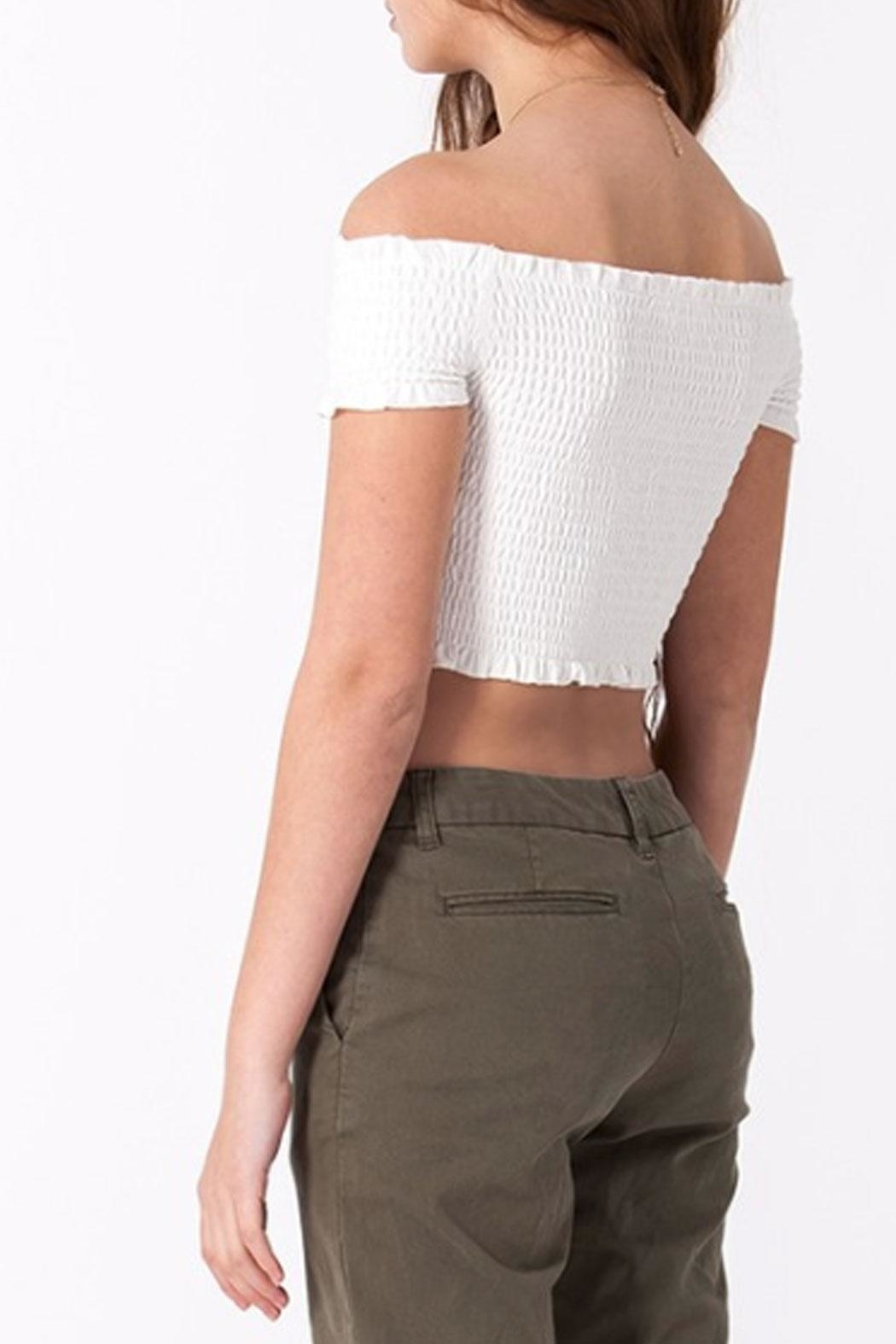 Double Zero Smocked Crop Top - Back Cropped Image
