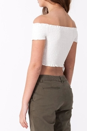 Double Zero Smocked Crop Top - Back cropped