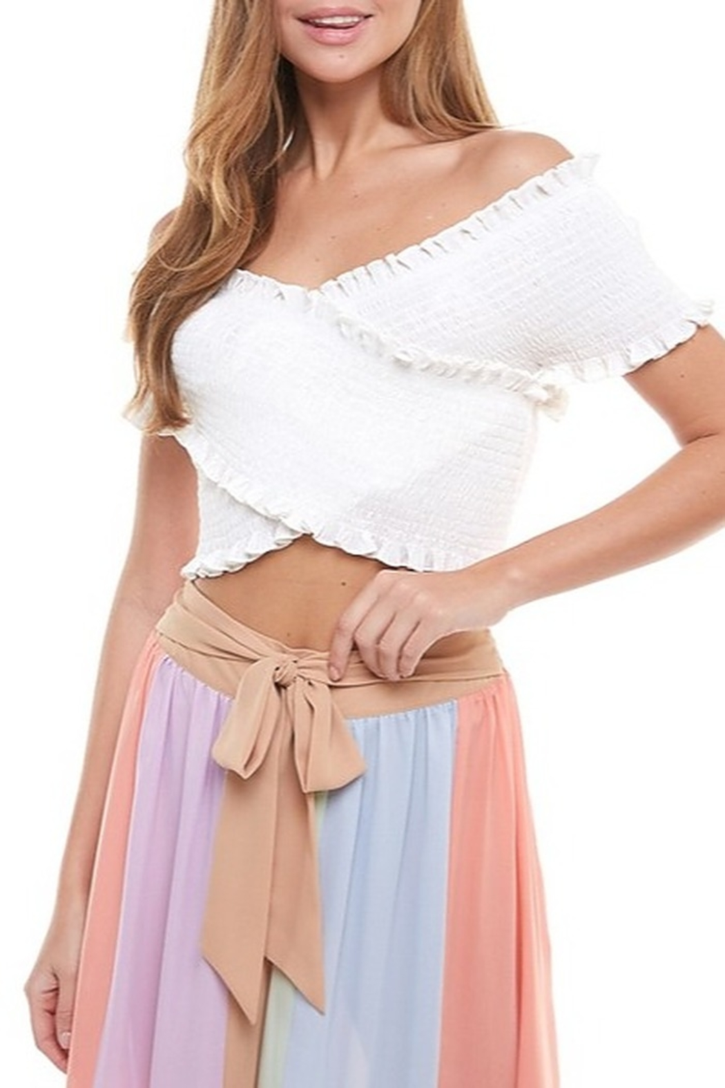 TCEC Smocked Crop Top - Front Cropped Image