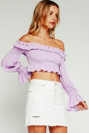 Olivaceous Smocked Crop Top - Front cropped