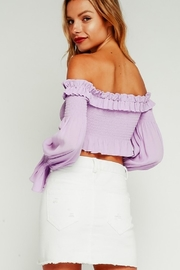 Olivaceous Smocked Crop Top - Side cropped